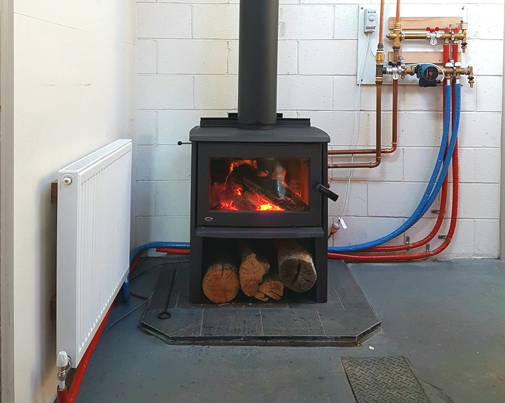 Wood heaters for heating water